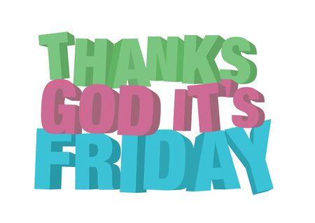 3D TGIF Thank God It's Friday message. Vector illustration.