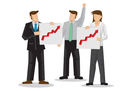Boss happy that his investment stock is gaining growth. Concept of success, finance management or stock earnings. Flat vector cartoon illustration.