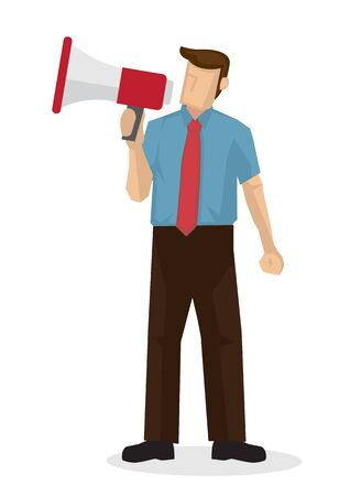 Businessman with a megaphone. Concept of sales, consumerism or marketing. Flat isolated vector illustration. Ilustrace