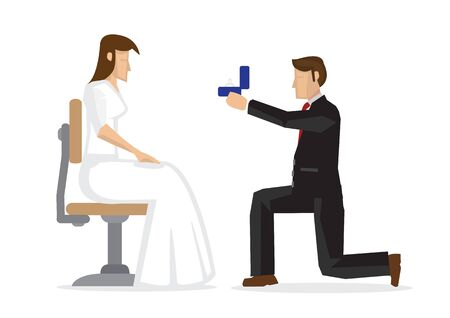 Man propose to his girlfriend with engagement ring. Concept of love and marriage. Vector cartoon illustration