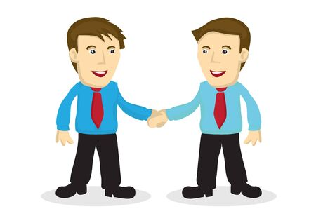 Businessman handshake. Business people greeting each other. Concept of corporate collaboration or meeting. Vector isolated cartoon illustration.
