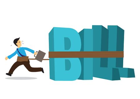 Businessman tied to a huge weight of bills. Business concept of debtor, financial problem or bad economy. Vector illustration.