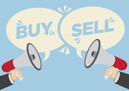 Unterschiedliche Meinungen zum Kauf oder Verkauf. Geschäftskonzept von Meinungsverschiedenheiten, Verhandlungen oder Missverständnissen. Vektor-Illustration.