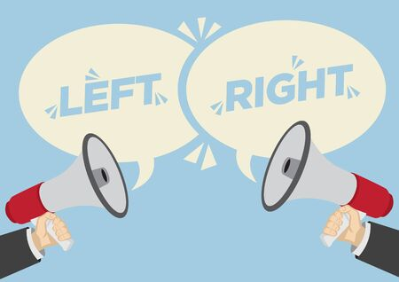 Different Opinions of Left and Right. Business Concept of disagreement, negotiation or miscommunication. Vector illustration.