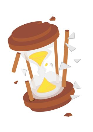 Broken Hourglass. Concept of deadline, lack of time or lost time. Flat isolated vector illustration.