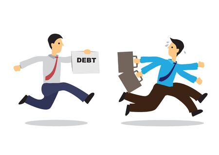 Worried businessman running away from his debt collector. Business concept of debtor, financial problem or bad economy. Vector cartoon illustration.