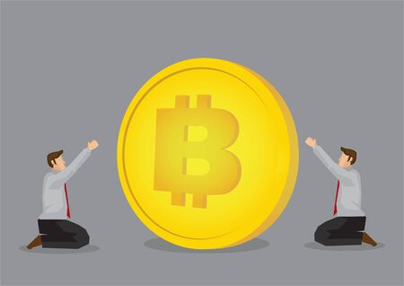 Businessmen begging the future price of bitcoin to rise. Concept of future currency.