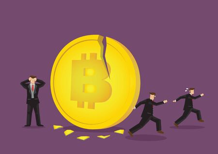 Illustration of Bitcoin breaking with businessmen running away. Concept of the collapse cryptocurrency industry. Ilustrace