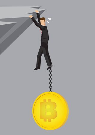 Illustration of a Businessman pulling down by bitcoin on a cliff. Business concept of the down fall of cryptocurrency.