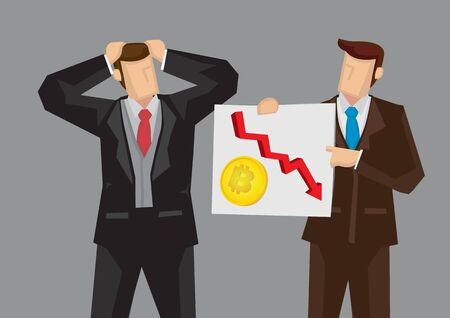 Employee telling his boss the falling of his investment in bitcoin. Business concept illustration. Ilustrace
