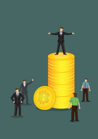 Successful rich businessman making a fortune by investing in Bitcoins. Vector illustration.