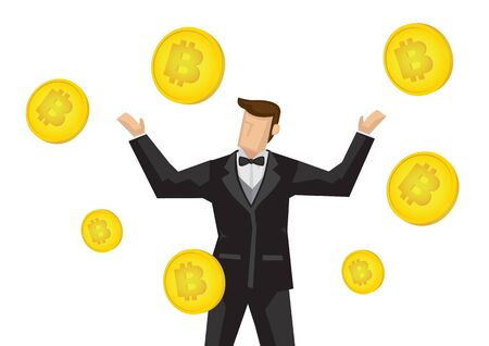 Happy businessman earning a fortune from bitcoin. Vector business concept illustration.