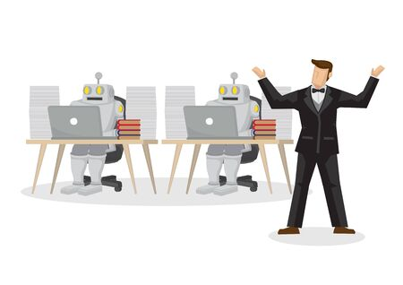 Boss replacing human workers with robots for productivity. Depicts the positive of artificial intelligence. Isolated vector cartoon illustration. 向量圖像