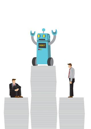Robot win office workers by doing most of the work. Depicts artificial intelligence taking over future job market. Concept of Human vs Robot. Isolated vector cartoon illustration.