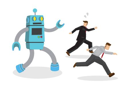 Robot chase away office workers. Depicts automation, future job market and artificial intelligence. Concept of Human vs Robot. Isolated vector cartoon illustration.