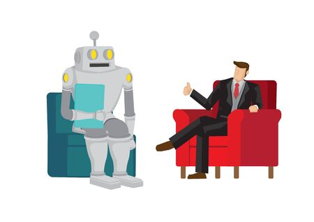 Boss praises robot for doing a good job. Depicts artificial intelligence and automation taken over future job. Isolated vector cartoon illustration.