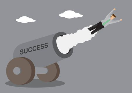 Cartoon man in business attire shot out from cannon which has text SUCCESS on it. Creative vector illustration on success concept.