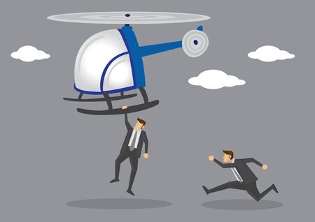 Cartoon character in black suit hanging dangerously on the landing skid of a helicopter taking off and his partner running to catch up. Vector illustration on fast speed action chase scene.