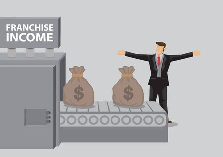 Cartoon businessman stands in front of money production machine with title Franchise Income and  sacks of money . Vector illustration on money making system metaphor isolated on plain background. Vettoriali