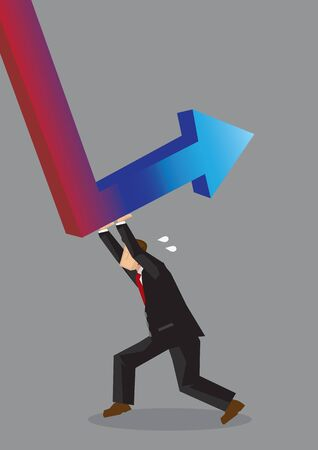 Cartoon man pushing hard to reverse red down arrow into a blue up arrow. Creative vector illustration on working hard to achieve business revival concept isolated on grey background. Ilustración de vector