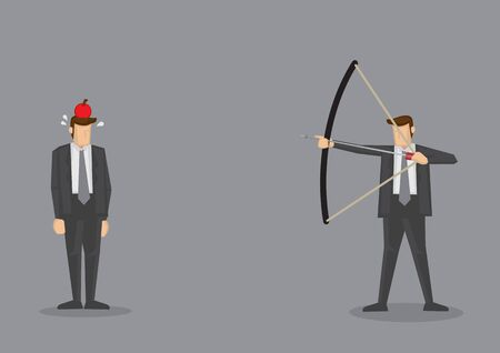 Business executive holding bow and arrow aiming to shoot at apple on another mans head. Vector illustration for business concept isolated on grey background.