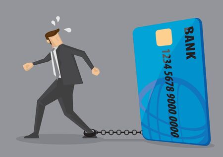Cartoon businessman with foot chained to bank credit card trying to escape. Creative vector illustration on credit card debt concept isolated on grey background.  イラスト・ベクター素材