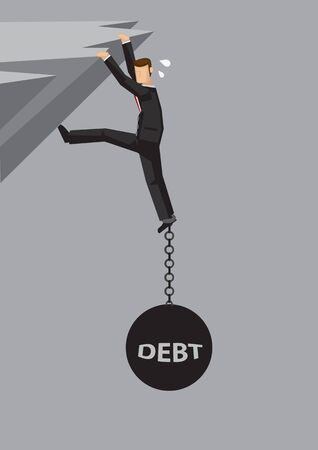 Businessman hanging dangerously on cliff and weigh down by metal ball and chain with word debt chained on his feet. Vector illustration on weigh down by debt concept.