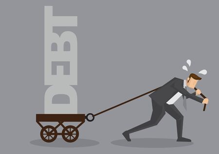 Cartoon businessman sweating and pulling a cart with text Debt on it. Creative vector illustration on financial obligation as heavy burden concept isolated on grey background. Vettoriali
