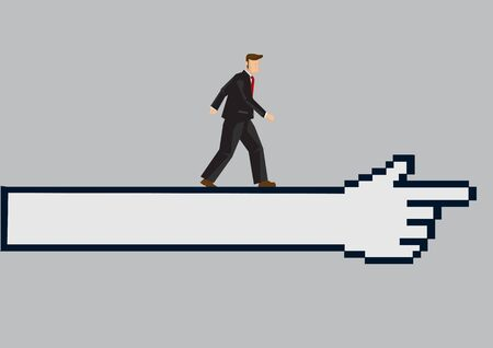 Cartoon business professional walking on a huge digital click  finger icon. Vector illustration on technology in business concept isolated on plain grey background.