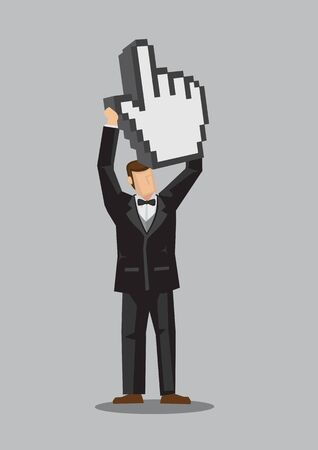 Vector illustration of well-dressed cartoon male character holding up a pixelated digital hand with thumb and index finger, web icon for click, isolated on plain background.