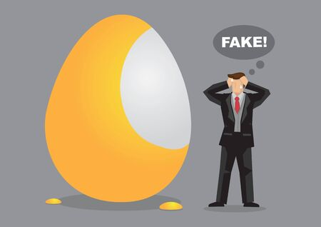 Cartoon man finds gold paint peel from golden egg. Creative vector illustration on concept for scams and frauds.