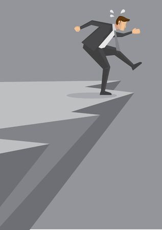 Cartoon businessman on the verge of falling off a dangerous cliff. Creative vector illustration for concept related to danger and business risk