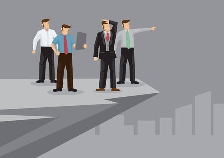 A group of business professionals standing on the edge of a cliff looking afar. Vector illustration on business vision and planning concept.