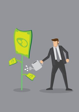 Businessman watering plant growing dollar notes. Creative cartoon vector illustration on monetary concept isolated on grey background. Vector Illustration