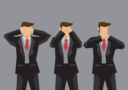 Vector illustration of three businessmen covering ears, eyes and mouth like hear no evil, see no evil and speak no evil monkeys.