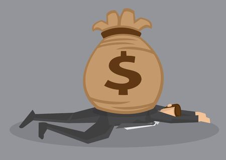 Cartoon man lying face down on the floor and smashed by a bag of money. Creative vector illustration on financial and monetary concept isolated on grey background. Vector Illustration
