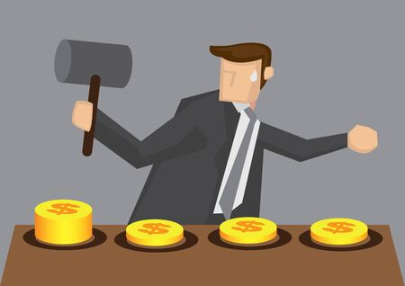 Business executive holding a mallet trying to whack the money popping out of hole on arcade game machine, Vector illustration for business concept and metaphor isolated on grey background.