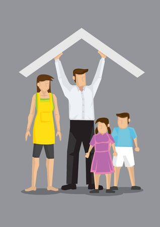 Cartoon man holding up a roof above his family with wife, son and daughter. Vector illustration of concept on man supporting family isolated on grey background.