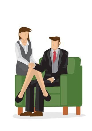 Businessman and woman sitting on the couch. Concept of relationship in the office. Vector illustration.