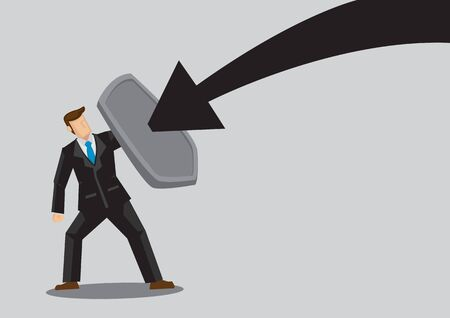 Business concept vector illustration of a businessman holding a shield and protect himself from dangers. Concept of protecting from the danger of financial world. Çizim