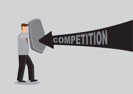 Business concept vector illustration of a businessman holding a shield and protect himself from business competition. Concept of protecting from the danger of competitor.