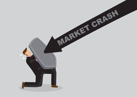 Business concept vector illustration of a businessman holding a shield and protect himself from market crash. Concept of protecting from the danger of financial world.