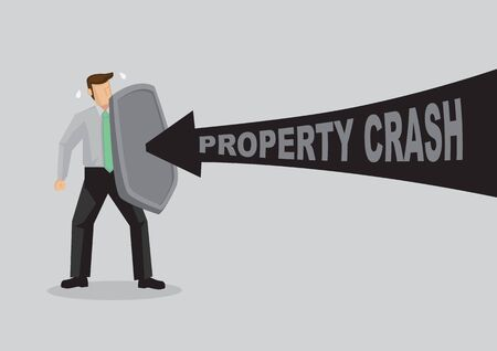 Business concept vector illustration of a businessman holding a shield and protect himself from property crash. Concept of protecting from the danger of property world.