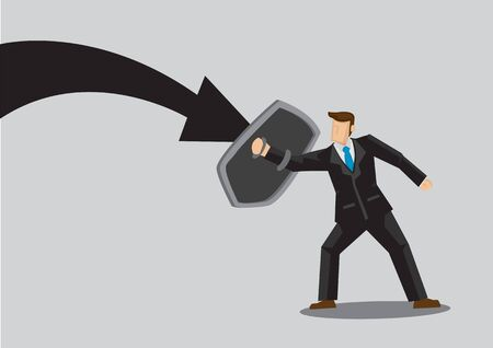 Business concept vector illustration of a businessman holding a shield and protect himself from danger. Concept of protecting from the danger of financial world. Çizim