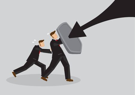 Business concept vector illustration of a businessmen holding a shield and protect themselves from danger. Concept of protecting from the danger of financial world.