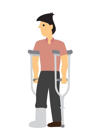 Injured young man with crutches. Concept of injury or misfortune. Flat isolated vector illustration.