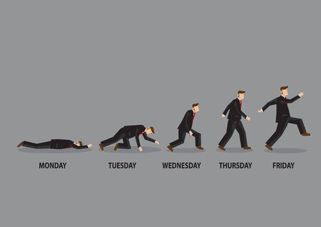 Enthusiasm level of a white collar worker cartoon character from Monday to Friday. Vector illustration on attitude towards work concept isolated on grey background.