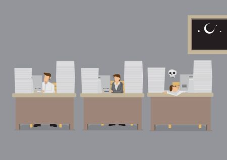 Office workers work late into the night and one died on the job with exhaustion. Cartoon vector illustration on overworked concept isolated on grey background.