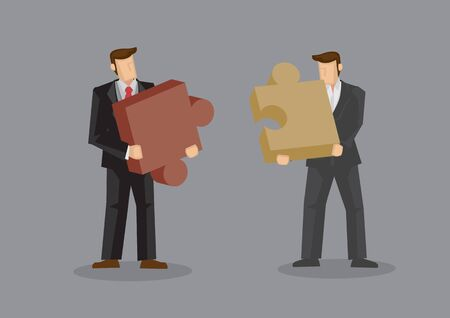 Cartoon businessmen holding large pieces of jigsaw puzzle. Creative vector illustration on business fit concept isolated on grey background. Vektorové ilustrace