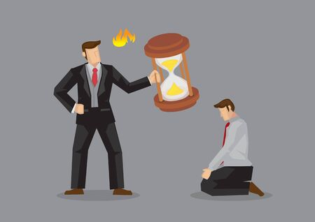 Angry boss holding large hourglass and employee kneels down in apology. Vector cartoon illustration on time management problem in workplace isolated on grey background.